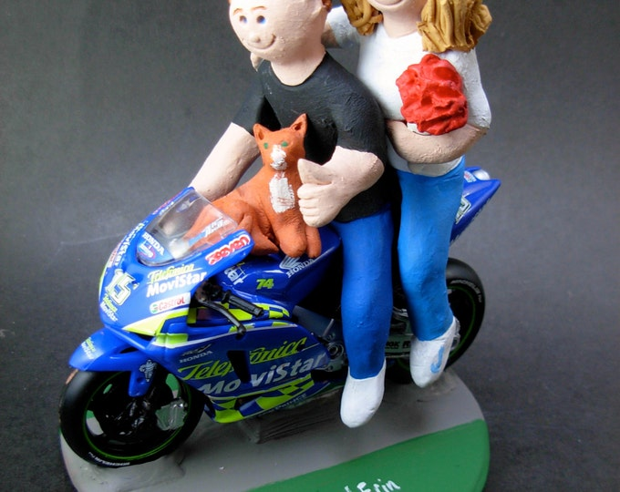 Bride and Groom on Sportbike Motorcycle Wedding Cake Topper,  Motorcycle Wedding Cake Topper, Motorcycle Riders Wedding Anniversary Gift