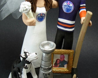 Edmonton Oilers Hockey Wedding Cake Topper, Edmonton Oilers Wedding Anniversary Gift, Groom with Goatee Wedding CakeTopper,Hockey Caketopper