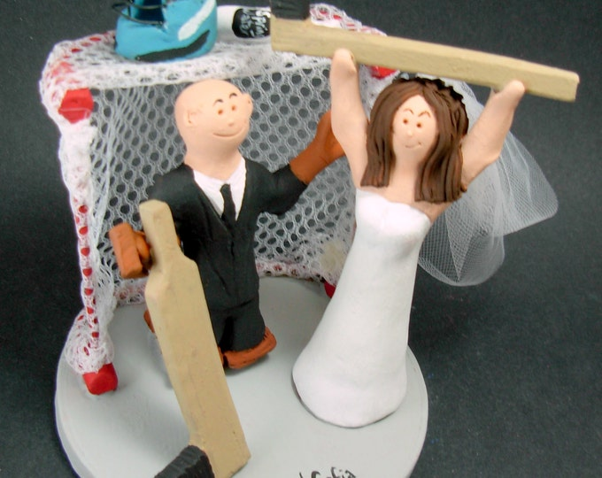 Hockey Bride Wedding Cake Topper, Goalie Groom Wedding Cake Topper, Hockey Wedding Cake Topper, Hockey Wedding Figurine, Wedding Cake Statue