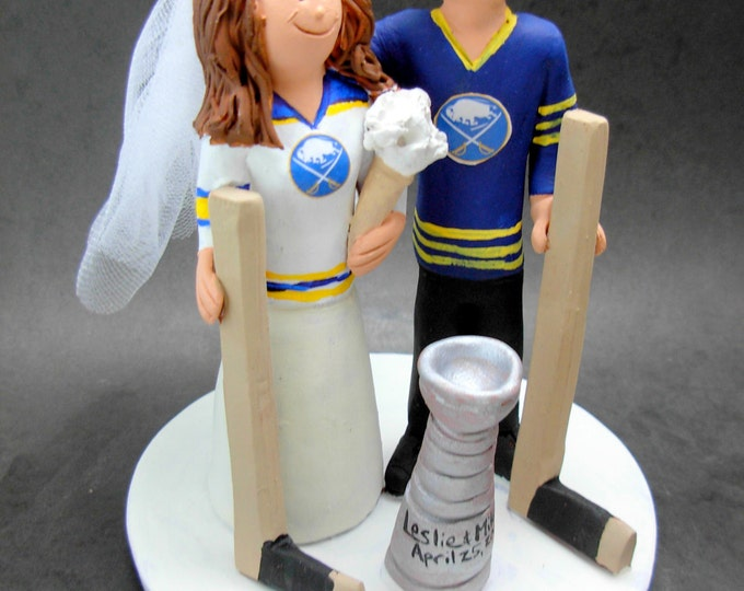 Buffalo Sabres Hockey Wedding Cake Topper, Hockey Bride and Groom Wedding Cake Topper, Buffalo Sabres Wedding Anniversary Gift Figurine,