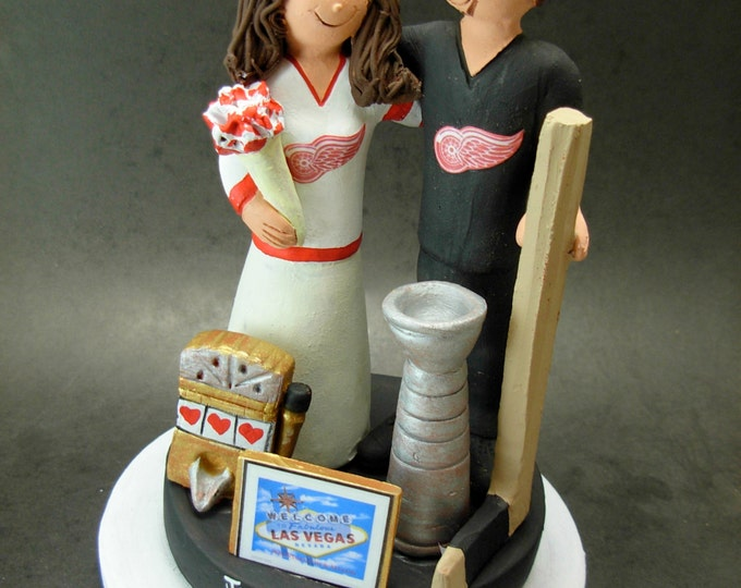 Detroit Red Wings Hockey Wedding Cake Topper, Slot Machine Wedding Cake Topper, 1 Armed Bandit Wedding CakeTopper,Vegas Wedding Caketopper