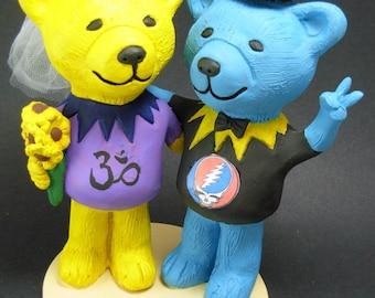Grateful Dead Wedding Cake Topper, Custom Made Grateful Dead Dancing Bears Wedding Cake Topper, Jerry Bear Wedding Cake Topper