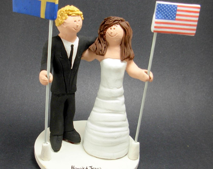 American Bride Swedish Groom Wedding CakeTopper, International Marriage Wedding Cake Topper, Wedding CakeTopper with Country of Origin Flags