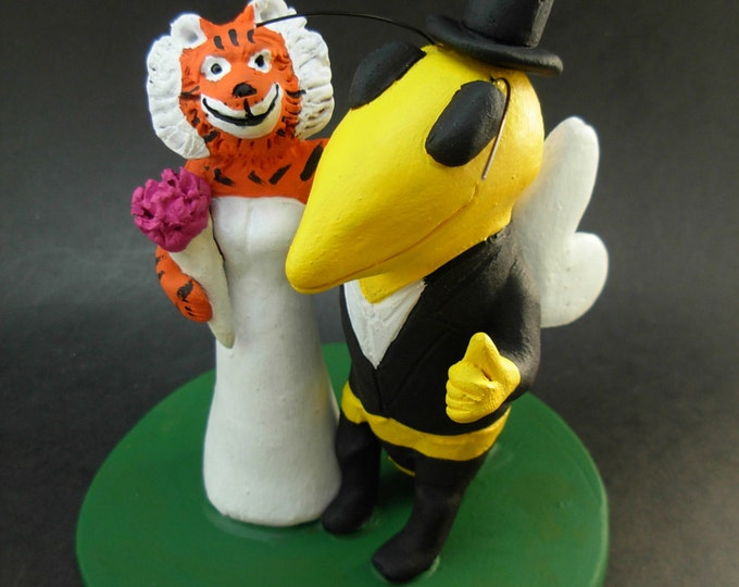 Tiger Marries Bee Football Wedding Cake Topper, Wasp Custom Made Wedding Cake Topper