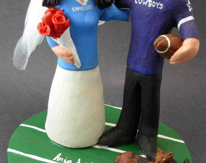 Dallas Cowboys Wedding Cake Topper, San Diego Chargers Wedding Cake Topper, Dallas Cowboys Wedding Anniversary Gift/Cake Topper