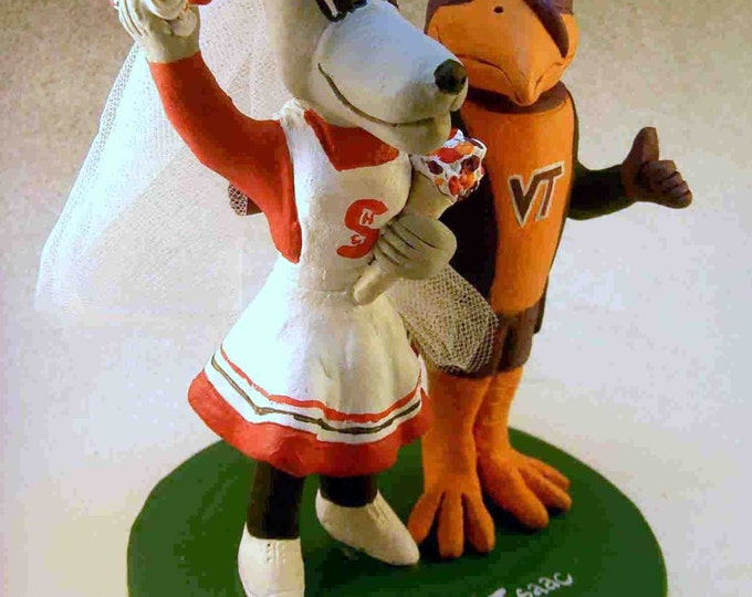 NC State Ms Wuf Marries VT Hokie Wedding Cake Topper, North Carolina State Graduate's wedding Cake Topper, Ms. Wuf Wedding Cake Topper
