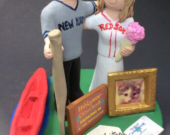 Red Sox Bride Yankees Groom Baseball Wedding Cake Topper - New York Yankees Wedding Cake Topper, Boston Red Sox Wedding Cake Topper