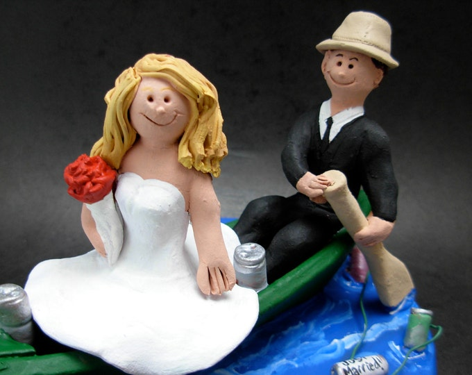 Bride and Groom in a Canoe Wedding Cake Topper,Canoeing Wedding Cake Topper, Canoeists Wedding Cake Topper, Campers Wedding Cake Topper