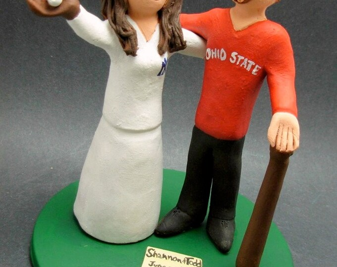 Ohio State Buckeyes Wedding Cake Topper,Yankees Bride Wedding Cake Topper,Chicago White Sox Wedding Anniversary Gift, Baseball Wedding Gift