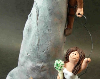 Wedding Cake Topper for Mountain Climbers, Wedding Cake Topper for Mountaineers,  Hikers CakeTopper, Cake Climbers Wedding CakeTopper