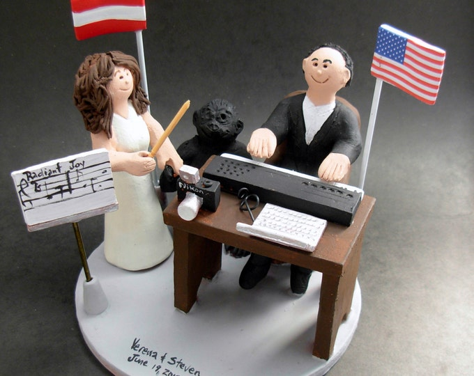 European (Latvia) Bride American Groom Wedding Cake Topper, International Marriage Wedding Cake Topper,Wedding CakeTopper with Country Flags