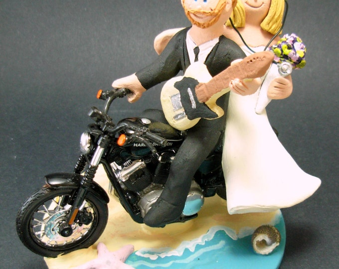 Nurse Bride on a Harley Motorcycle Wedding Cake Topper
