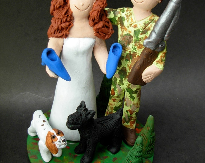 Shoe Diva Bride and NRA Hunter Groom, Shoe Shopping Bride Wedding Cake Topper, Hunters Wedding Cake Topper, Redneck Wedding Cake Topper,
