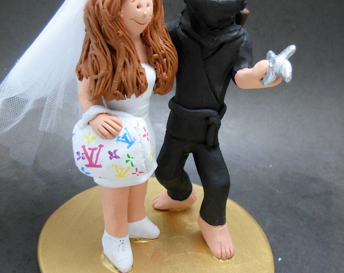 Ninja Groom Marries Vuitton Purse Bride Wedding Cake Topper - Custom Made Ninja Wedding Cake Topper - Shopping Bride Wedding Cake Topper