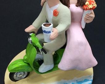 Scooter Wedding Cake Topper - Custom Made Vespa Riders Wedding Cake Topper, Moto Scooter Wedding Cake Topper, Cafe to Go Wedding Cake Topper