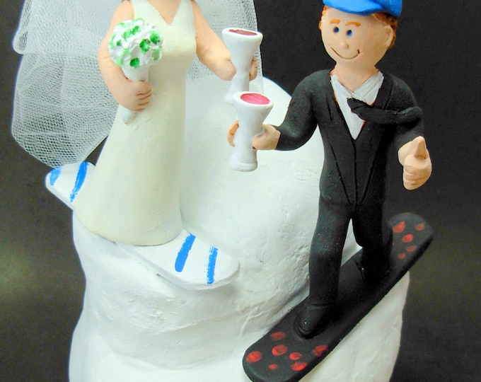 SnowBoarder's Wedding Cake Topper, Snowboarding Wedding Cake Topper, Snowboarding Bride and Groom Wedding Cake Topper, Snowboarding Figurine