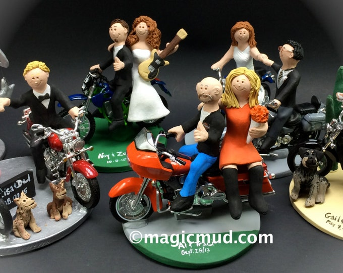 Motorcycle Wedding Cake Toppers, Bikers Wedding Anniversary Gift/ Cake Topper, Motorcycle Couple Wedding Anniversary Gift/Cake Topper.