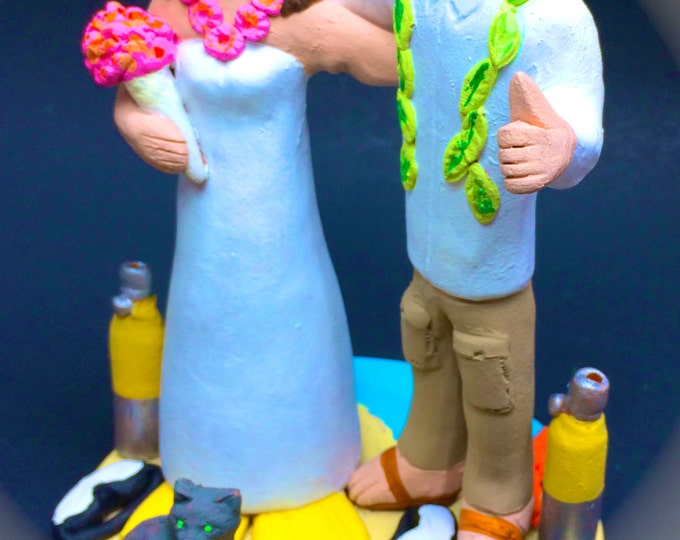 Bride and Groom Wearing Hawaiian Lei's Wedding Cake Topper - Custom Made Destination Wedding Cake Topper, Beachside Wedding Cake Topper