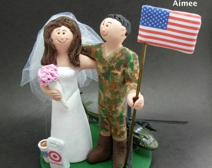 "American Flag Groom, ""Old Glory"" Wedding Cake Topper, USA Flag Wedding Anniversary Gift, Pilot's Wedding Anniversary Gift, Anniversary Gift"