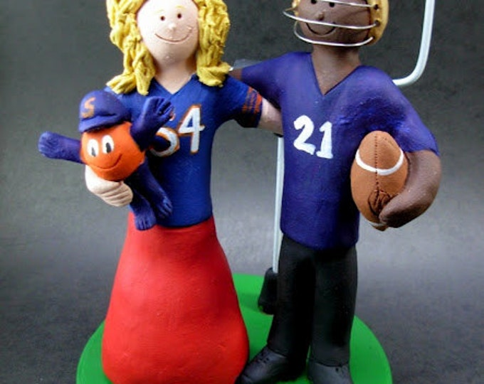 Syracuse University Football Wedding Cake Topper, Syracuse University Wedding Anniversary Gift, Otto the Orange Football Wedding CakeTopper,