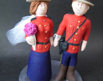 RCMP Mountie's Wedding Cake Topper, Police Uniform Wedding Cake Topper, Cake Topper for RCMP Wedding, Red Serge Uniform Wedding Caketopper