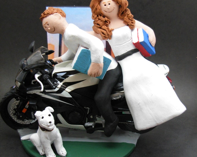 Honda Sportbike Motorcycle Wedding CakeTopper, Motorcycle Wedding Anniversary Gift, Sport Motorcycle Wedding CakeTopper,Honda Wedding Statue
