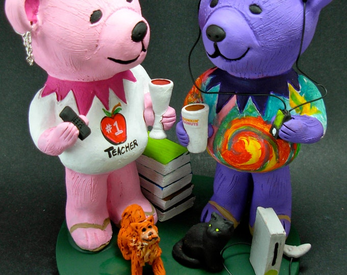 Wedding Cake Topper with Grateful Jerry Bears, Custom Made Grateful Dead Dancing Bears Wedding Cake Topper, Jerry Bear Wedding Cake Topper