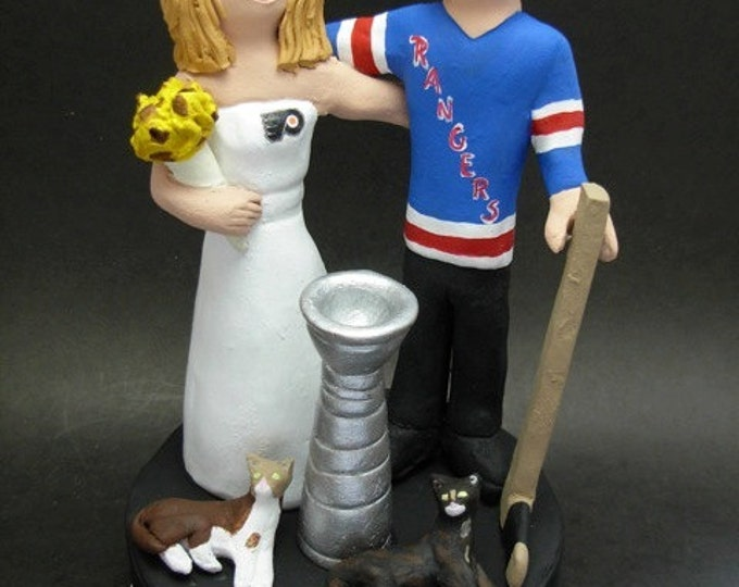 Personalized Hockey Wedding Cake Topper, custom made to order New York Rangers Wedding Cake Topper- NHL Hockey Wedding Cake Topper