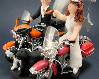 Bride and Groom Riding Harley-Davidson Motorcycles Wedding Cake Topper, Fist Bump Wedding Cake Topper, Motorcycle Bride Wedding Cake Topper