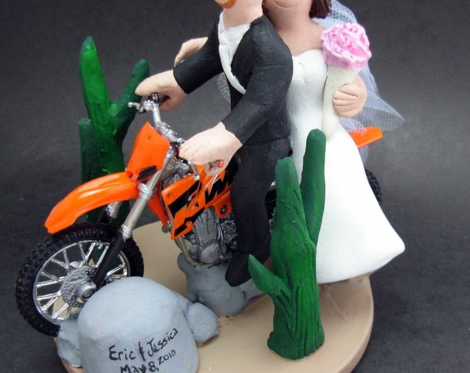 KTM Wedding Cake Topper, Dirt Bike Motorcycle Wedding Cake Topper, Off Road Motorcycle Wedding Cake Topper, Motorcycle Wedding Cake Topper