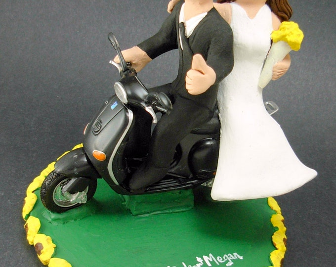 Scooter Riding Bride and Groom Wedding Cake Topper, Vespa Wedding Cake Topper, Bride and Groom on Vespa Scooter Wedding Cake Topper