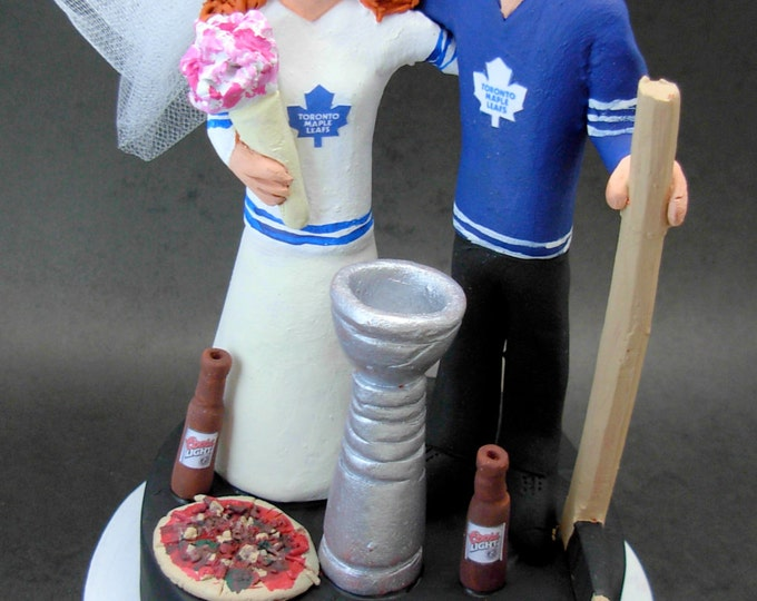 Hockey with Beer and Pizza Wedding Cake Topper, Beer and Pizza Wedding Cake Topper, Toronto Maple Leaf Wedding Anniversary Gift Figurine