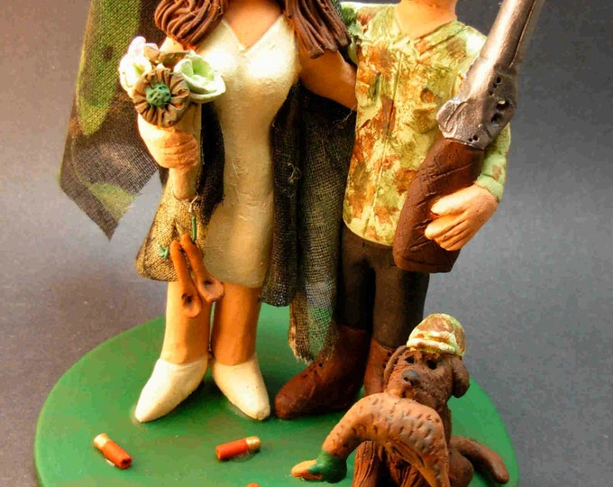 Redneck Wedding Cake Topper, Camouflage Bride and Groom Wedding Cake Topper, Hunting Wedding Cake Topper, Redneck Wedding Cake Topper