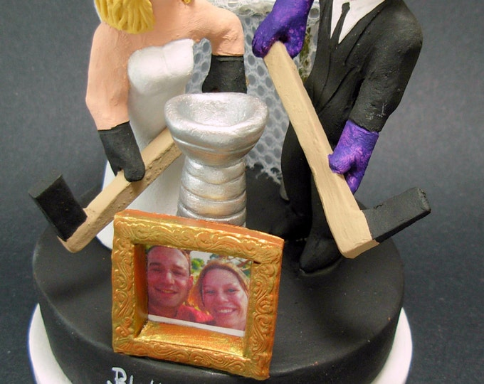 Custom Made Hockey Wedding Cake Topper, Hockey Bride and Groom Wedding Cake Topper, Hockey Mom and Dad Wedding Anniversary Gift