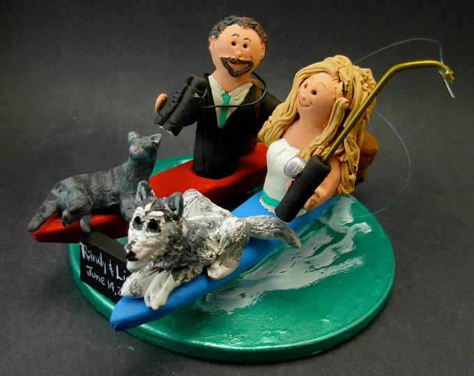 Kayaking Bride and Groom Wedding Cake Topper, Canoeing Wedding Cake Topper, Kayakers Wedding Cake Topper, Kayak Wedding CakeTopper