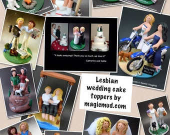 Lesbian Same Sex or Two Brides Wedding Cake Topper, Gay Wedding Cake Topper, Caketopper for 2 Women, Two Brides Caketopper, Gays Cake Topper