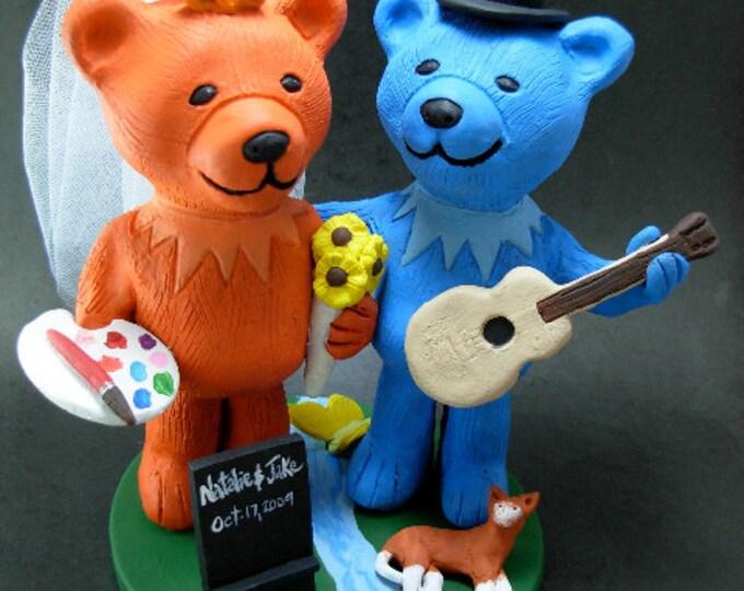 Jerry Bear Grateful Dead Wedding Cake Topper, Custom Made Grateful Dead Dancing Bears Wedding Cake Topper, Jerry Bear Wedding Cake Topper