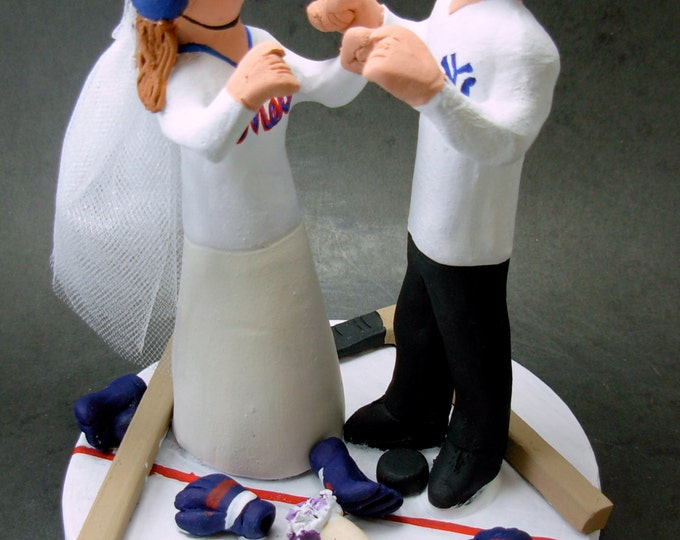 "Bride and Groom ""Faceoff at Centre Ice"" Hockey Wedding Cake Topper, Hockey Bride and Groom Wedding CakeTopper, Hockey Wedding Cake Topper,"