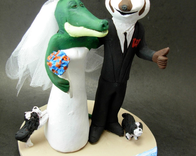 Badger and Gator Wedding Cake Topper, Wedding Cake Topper for College Mascots, Football Mascot wedding cake toppers