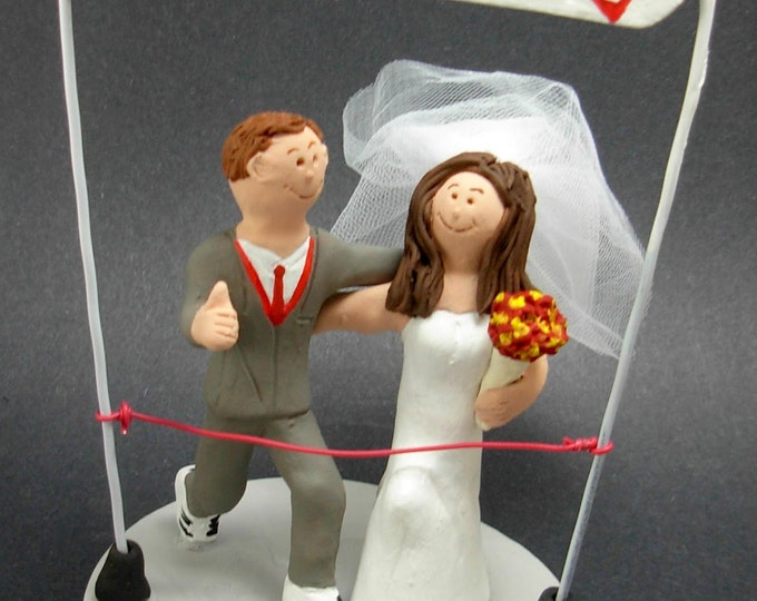 Runner's Marathon of Love Wedding Cake Topper,  Marathon Runners Wedding Cake Topper, Athletes Marriage Figurine, Running Wedding CakeTopper