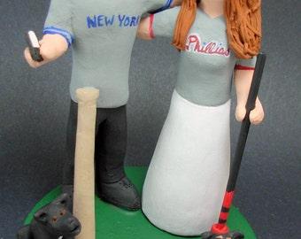 Yankees Groom Wedding Cake Topper, Phillies Bride Wedding Cake Topper, Baseball Wedding Cake Topper, Bride and Groom in Jerseys Cake Topper