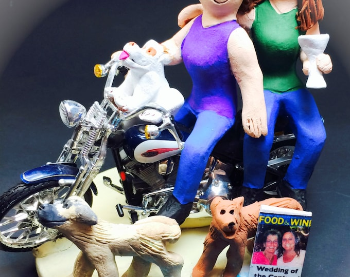 Lesbians on a Motorcycle Wedding Cake Topper, Custom Made Lesbian Wedding Cake Topper, Women's Same Sex Wedding Cake Topper, Gay Cake Topper