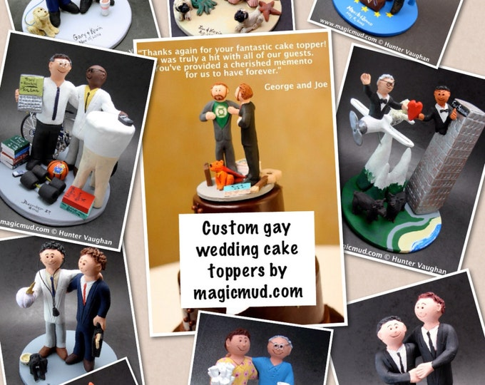 Men's Same Sex Wedding Cake Toppers, Custom Made Gay Wedding Cake Topper - Two Grooms Wedding Cake Topper - Gay's Wedding Cake Topper