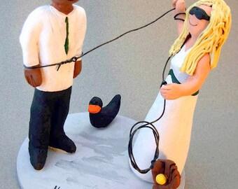 Bride Rope Groom Interracial Wedding Cake Topper, Captured Groom Wedding Cake Topper, Hog Tied Groom Wedding Cake Topper, Redneck CakeTopper