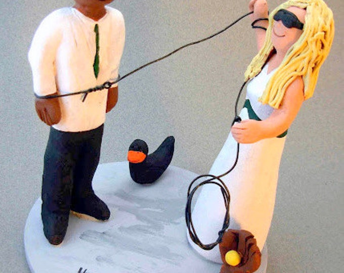 Bride Rope Groom Interracial Wedding Cake Topper, Captured Groom Wedding Cake Topper, Hog Tied Groom Wedding Cake Topper, Redneck CakeTopper