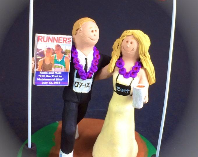 Triathelete's Wedding Cake Topper - Custom Made Marathon Wedding Cake Topper - Jogger's Wedding Cake Topper - Athlete's Wedding Cake Topper