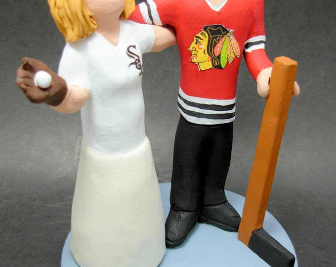 Chicago Blackhawks Hockey Wedding Cake Topper, Hockey Bride and Groom Wedding Cake Topper, NHL Hockey Wedding CakeTopper, Hockey Caketopper