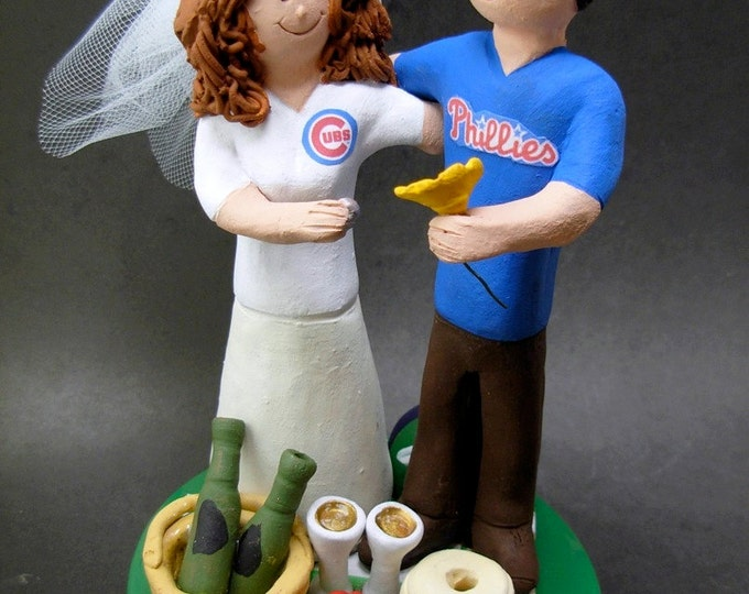Phillies Wedding Cake Topper, Chigao Cubs Baseball Wedding CakeTopper, Chicago Cubs Baseball Wedding Anniversary Gift, Phillies Wedding Gift