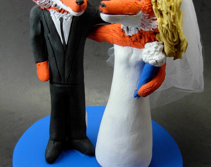 Foxes Animal Wedding Cake Topper, Fox Bride and Groom Wedding Cake Topper, Wedding Cake Topper custom made for any animal, fox Cake Topper