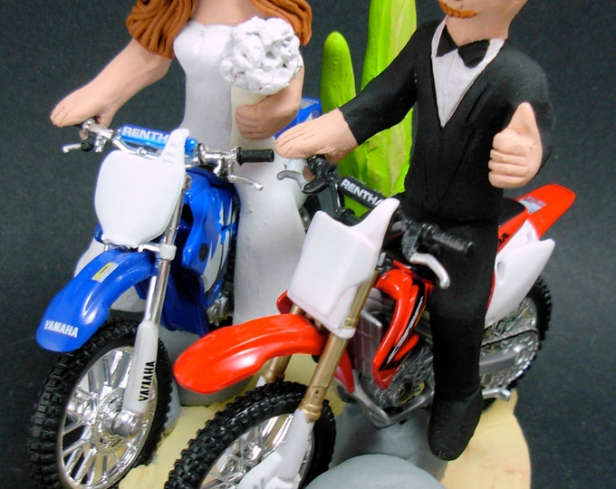 Desert Dirt Bike Motorcycle Wedding Cake Topper, Anniversary Gift for Honda Motorcycle Riders, Honda Dirt Biker's Wedding Anniversary Gift.